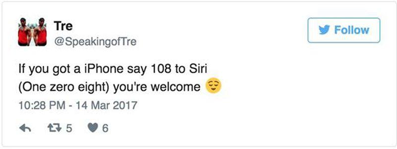 对siri说108